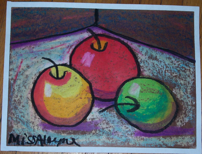 3 apples oil pastel