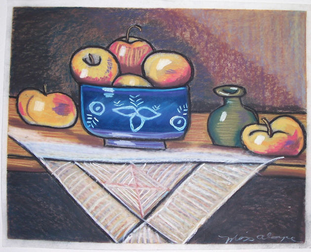 country apple still-life chalk