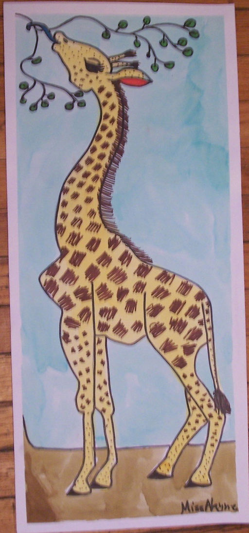 Giraffe The Met watercolor ink