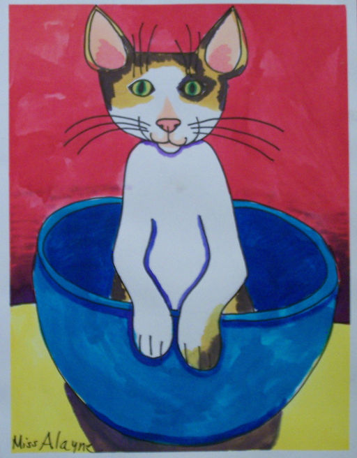 cat bowl watercolor