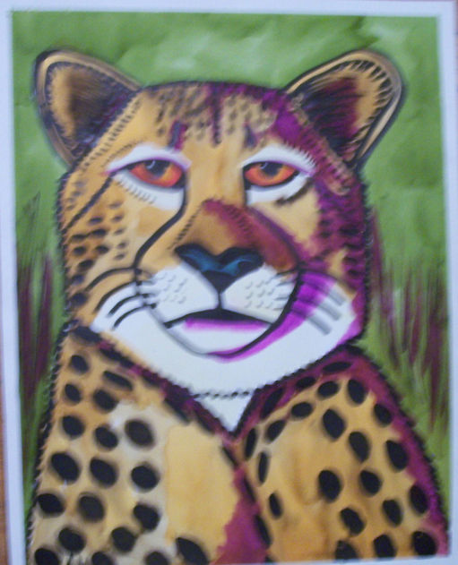 Cheetah w purple watercolor