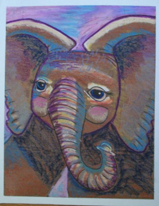 Baby elephant oil pastel