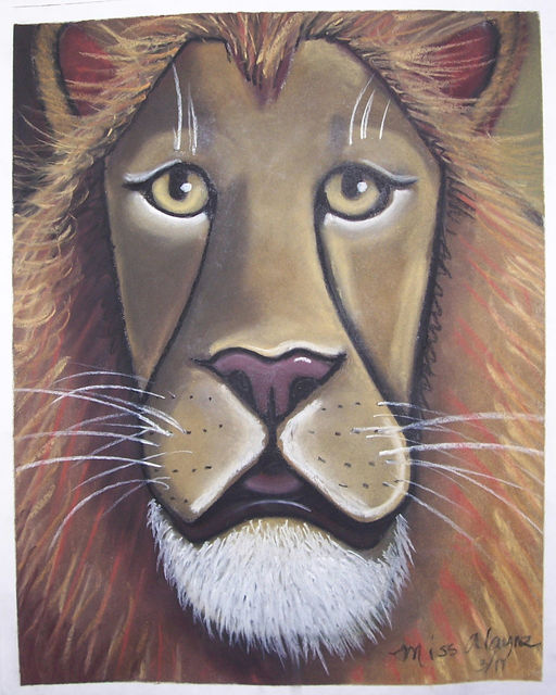 Lion face chalk pastel