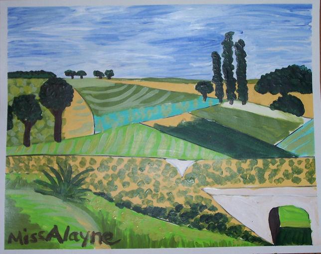 Pissaro landscape acrylic