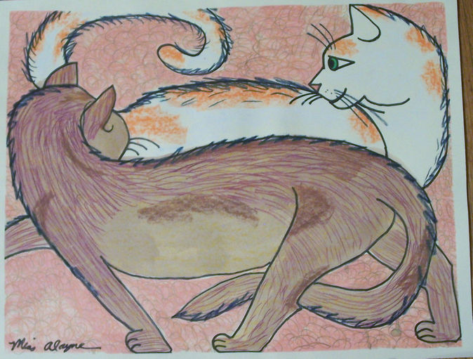 cats watercolor and pencil