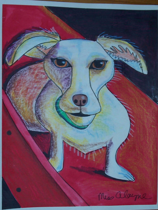 white dog mixed media wc