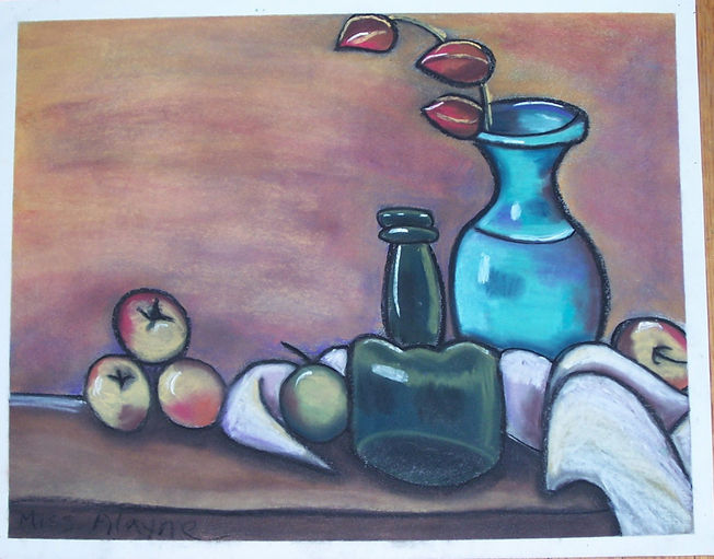 Still-life w blue vase chalk