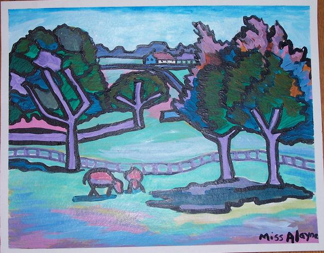 purple landscape acrylic