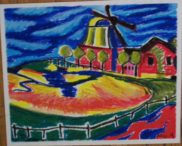 Dutch windmill oil pastel