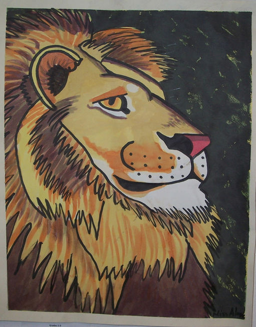 Lion profile watercolor