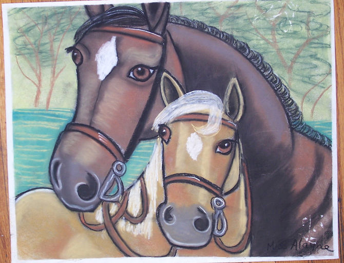 Two horses chalk pastel