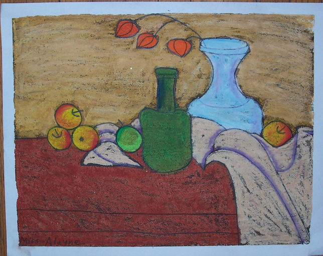Still life w green oil pastel