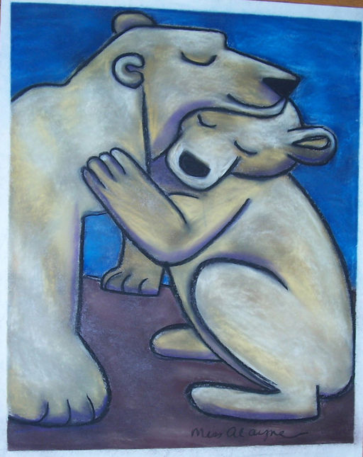 Polar bear mothernchild chalk