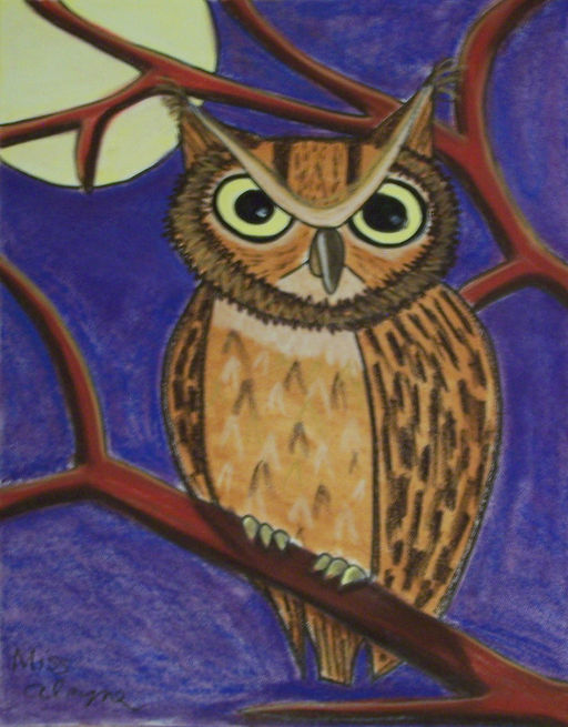 Owl and moon chalk pastel