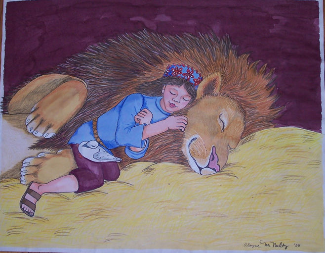 Girl and lion mixed media wc