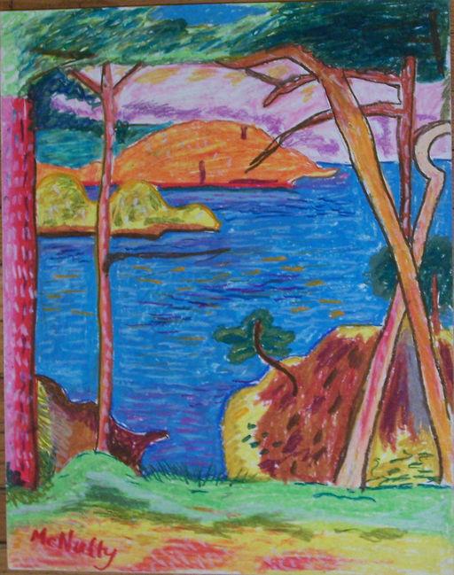 Landscape Bonnard Oil Pastel