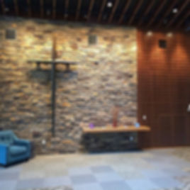 Element Church concourse feature wall and cross. DE|SL LLC