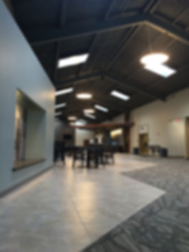 Element Church concourse facelift cafe and lounge with art and seating alcove design. DE|SL LLC