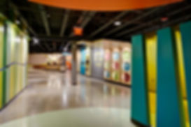 Grace Church St. Louis themed graciously wide hallway to individual age graded children's ministry rooms. DE|SL LLC