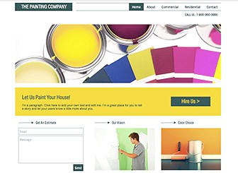 House Painters Template - As fresh as a new coat of paint, this free template awaits your handyman or professional decorating business. This is the perfect place to showcase your services, rates, and qualifications. Upload photos and customize the color scheme to make this site your own.