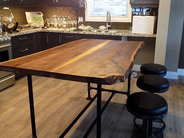 kitchen black walnut kitchen island live edge raw steel pipe