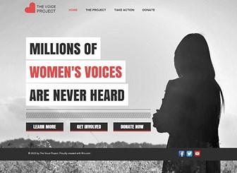 희망의 목소리 여성쉼터 Template - 뒤돌아서 있는 여성의 모습이 눈에 띄는 이 템플릿으로 비영리단체 및 자선 캠페인을 위한 홈페이지를 제작하세요. 텍스트를 통해 단체의 메시지를 전달하고, 참여와 기부를 유도할 링크 버튼을 추가하세요.