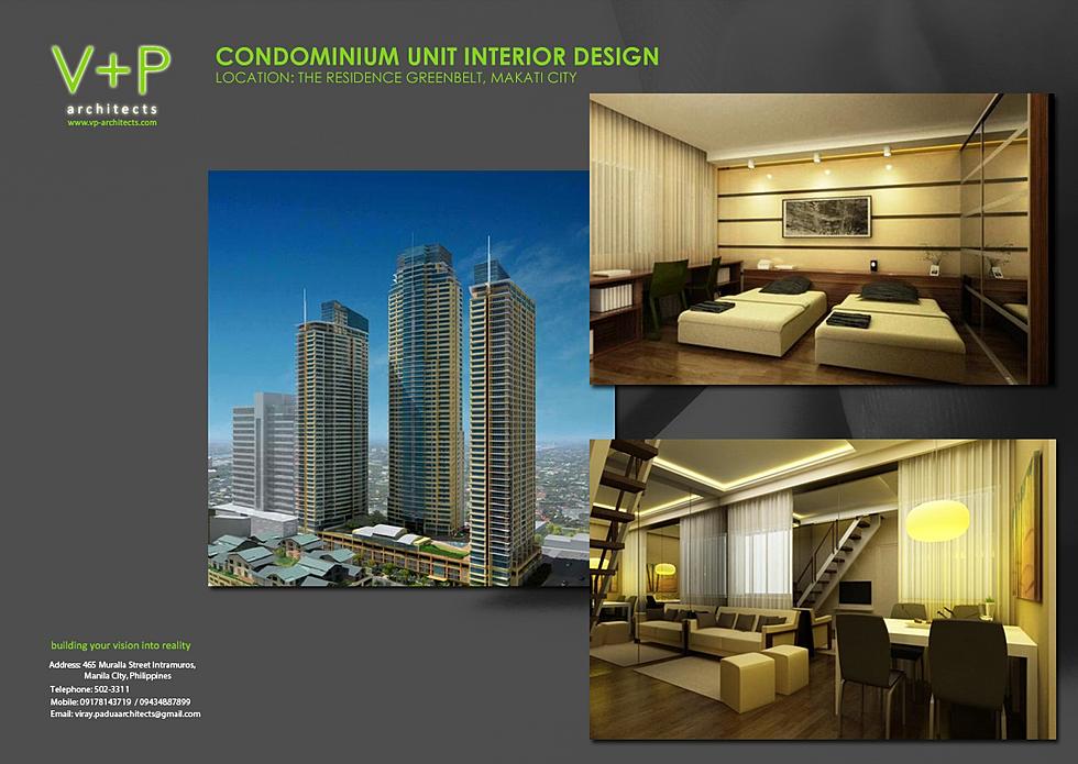 V p architects interior design for Condo unit interior designs