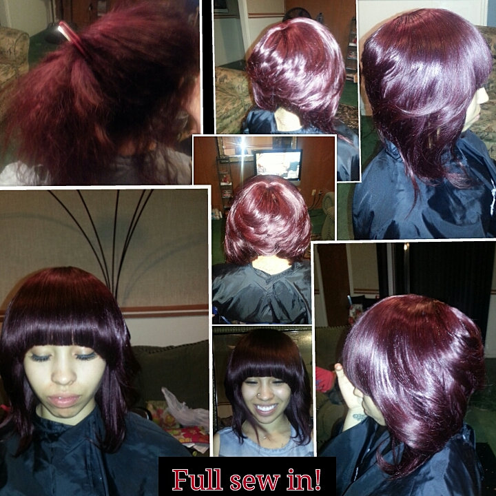 Full Sew In Cut Into A Summer Layered Bob With Chinese Bangs $125 ...