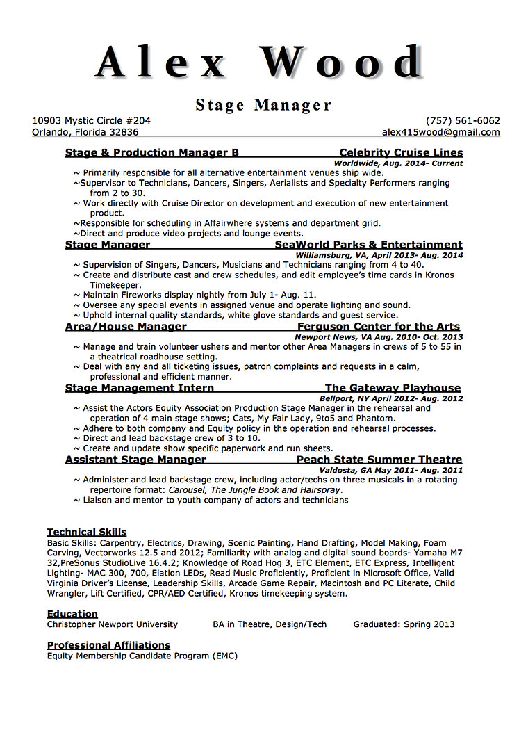 Stage Management Resume Sample Publishingcolorful