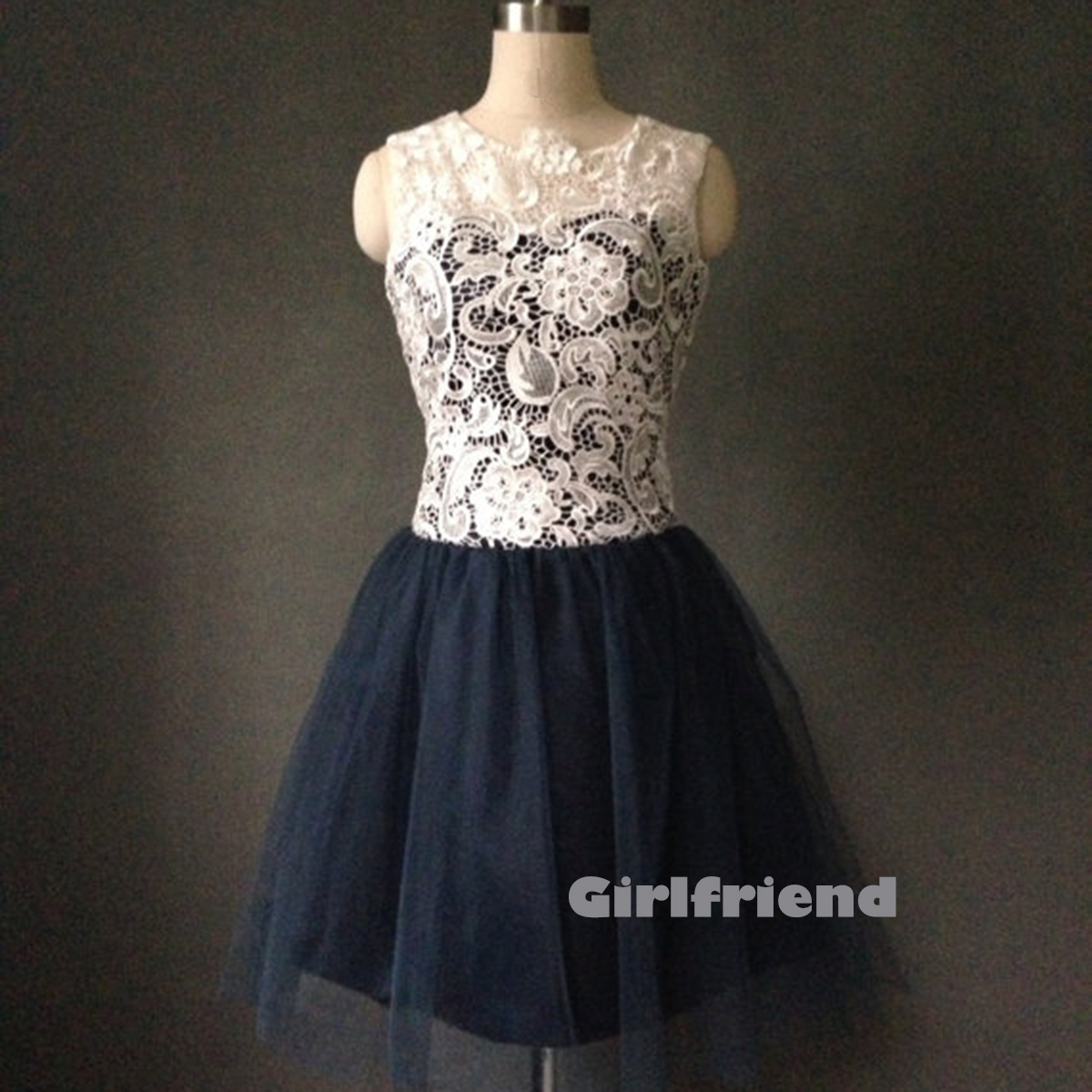 Cute deep blue tulle short prom bridesmaid dress