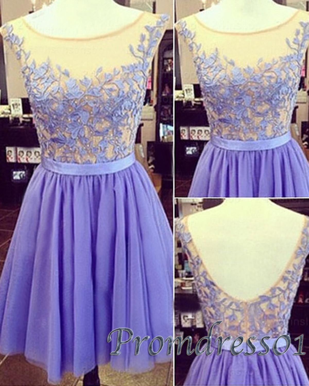 cute lavender lace open back mini homecoming dress prom. Black Bedroom Furniture Sets. Home Design Ideas