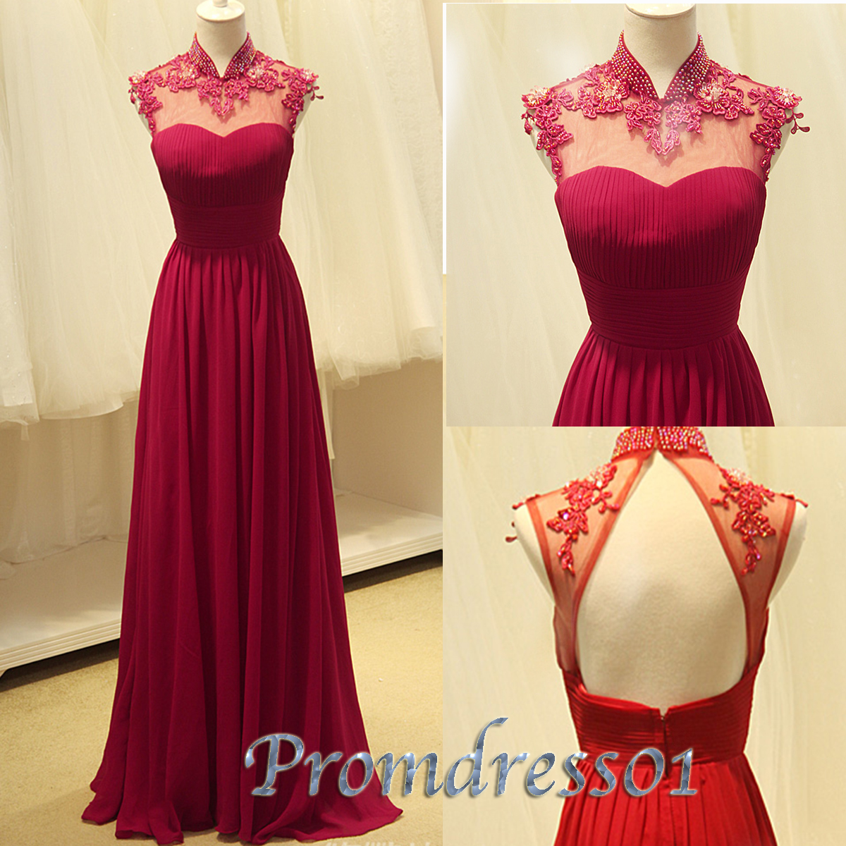 Cute Wine Red Chiffon Open Back Long Prom Dresses 2017 Promdress01 Formal