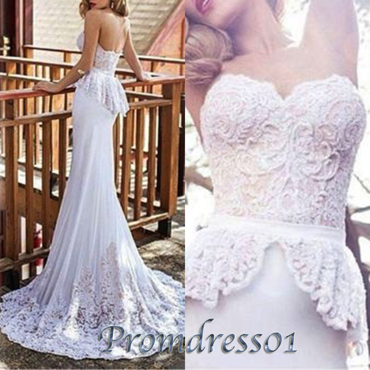 Noble white lace strapless vintage wedding dresses