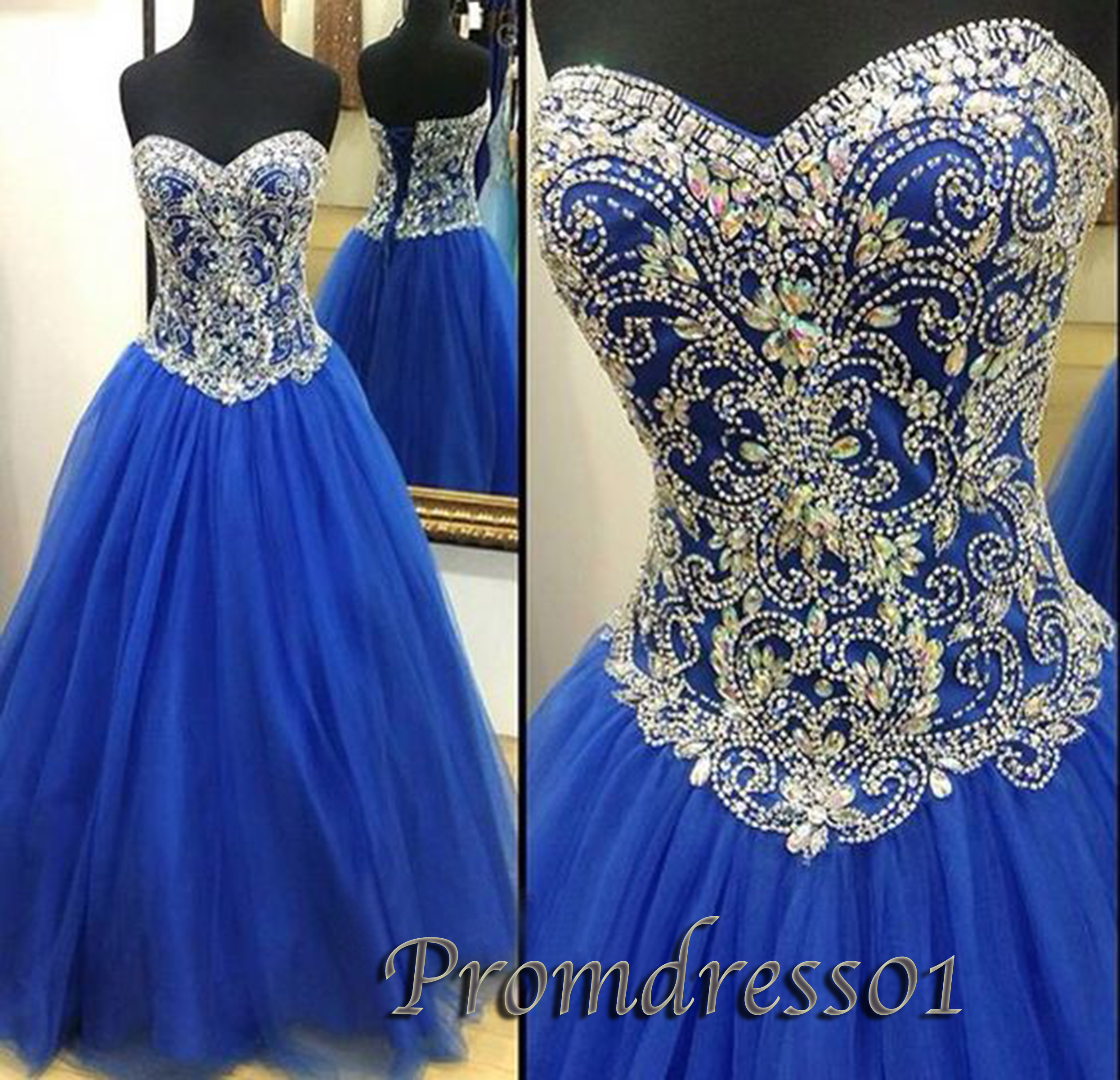 Strapless navy blue rhinestone long prom dress