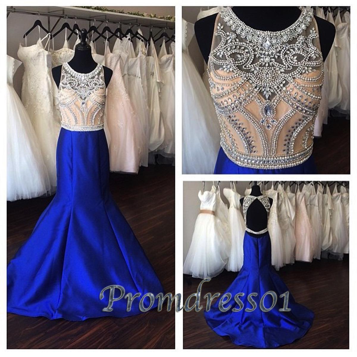 Navy blue open back beaded long satin prom dress