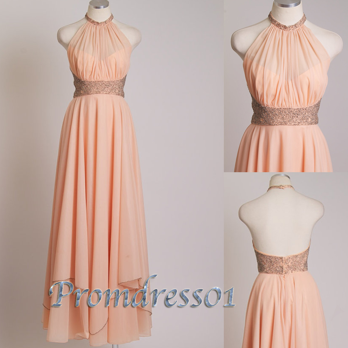 Backless halter light orange sequins prom dress