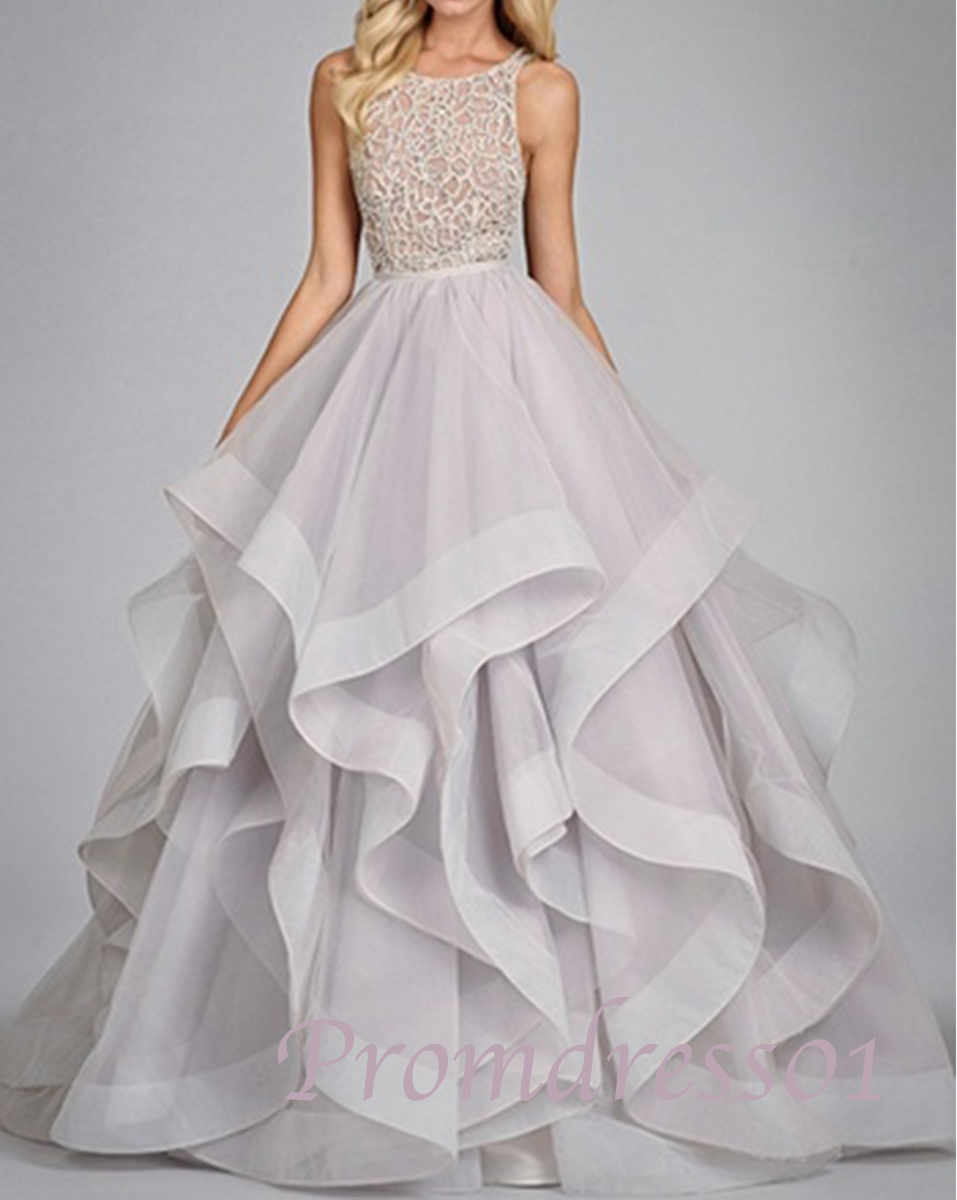 Layered Wedding Dress With Sleeves : Lace layered floor length prom wedding dress dresses