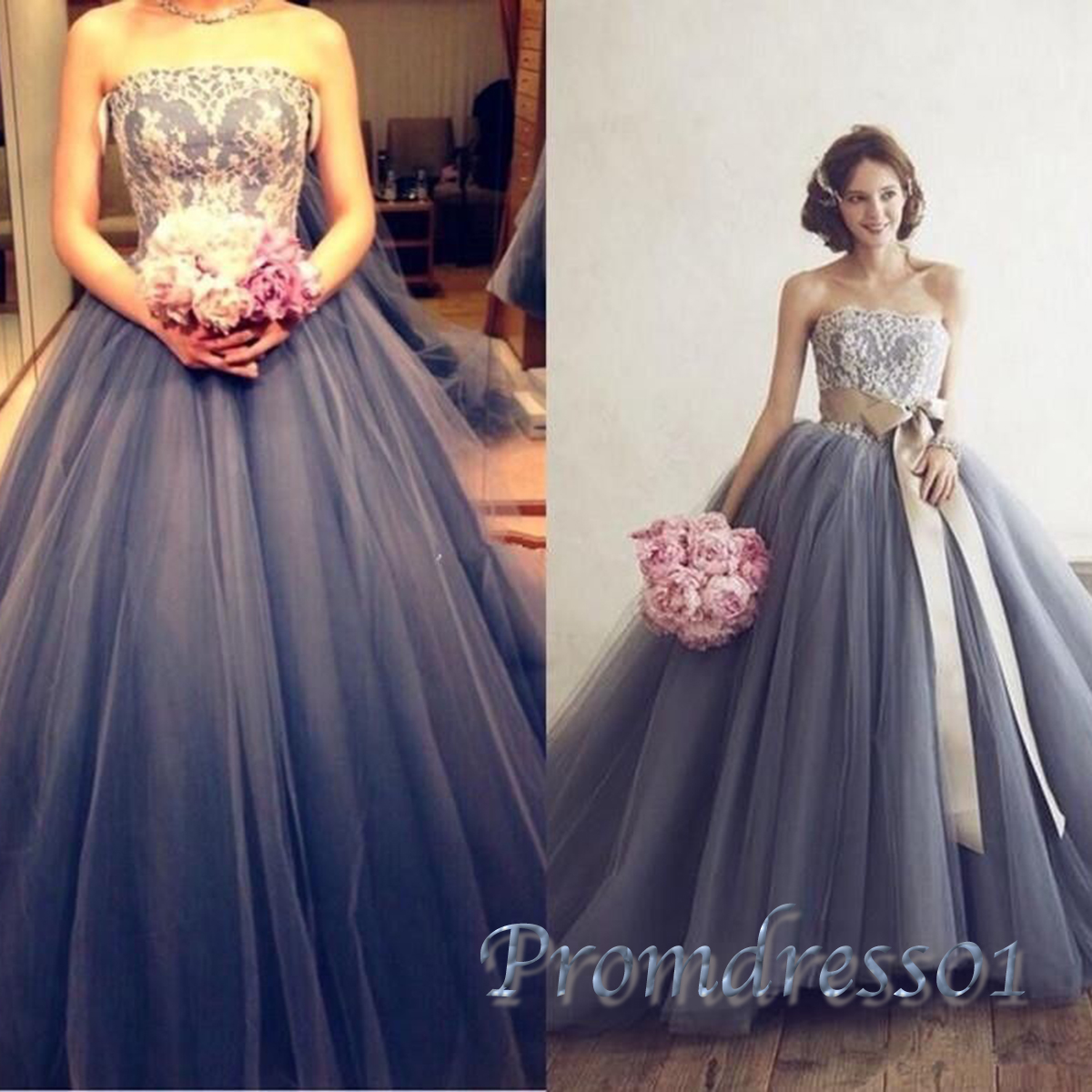 Grey tulle poofy ball gowns wedding dress