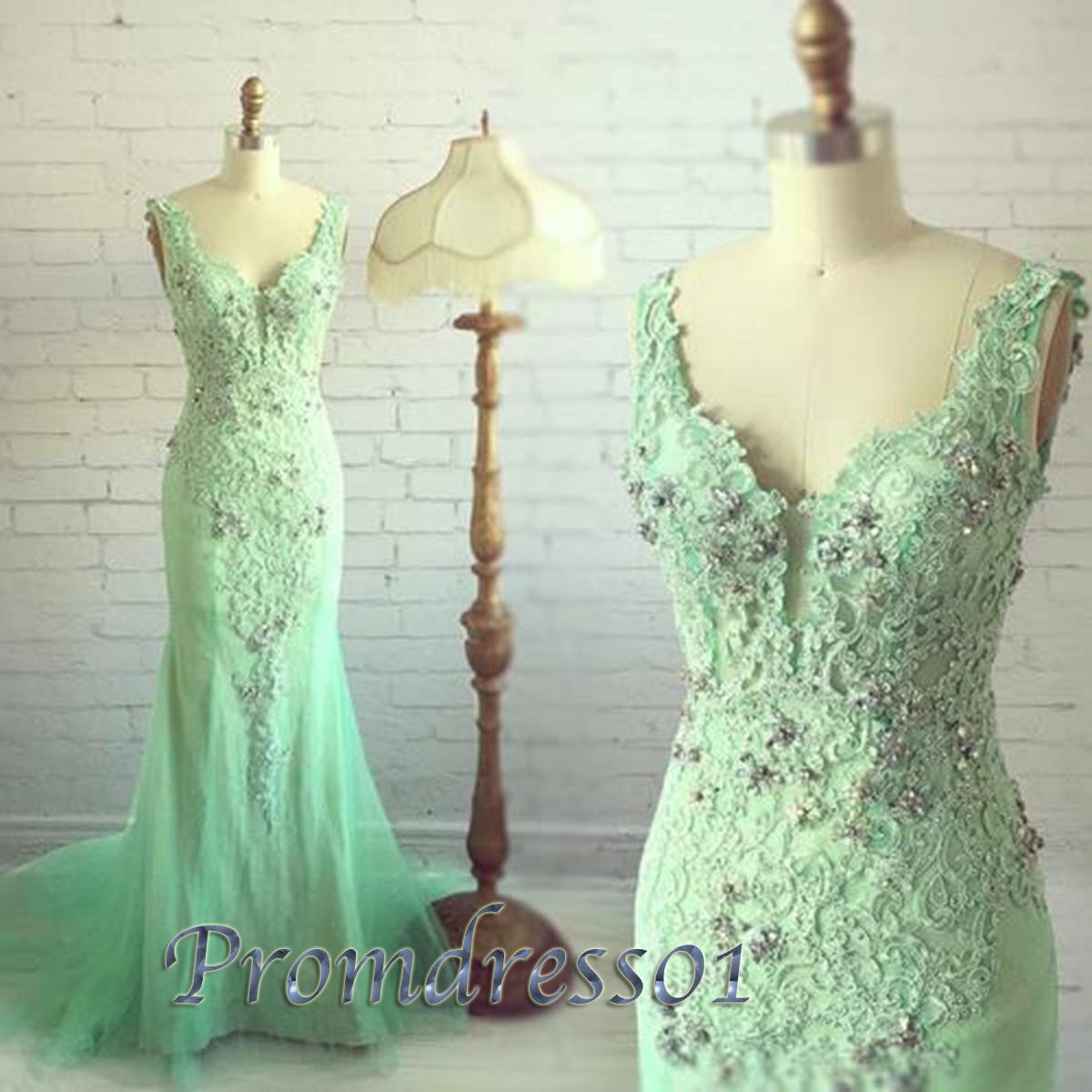 Beautiful mint lace beading sweetheart prom dress