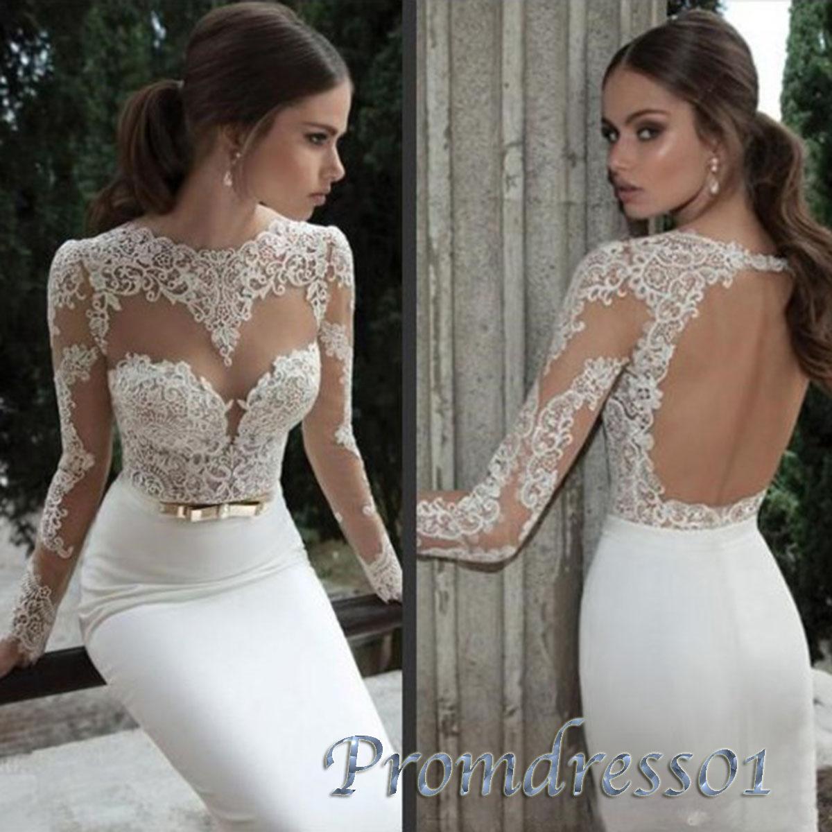 Elegant lace chiffon wedding dress with sleeves