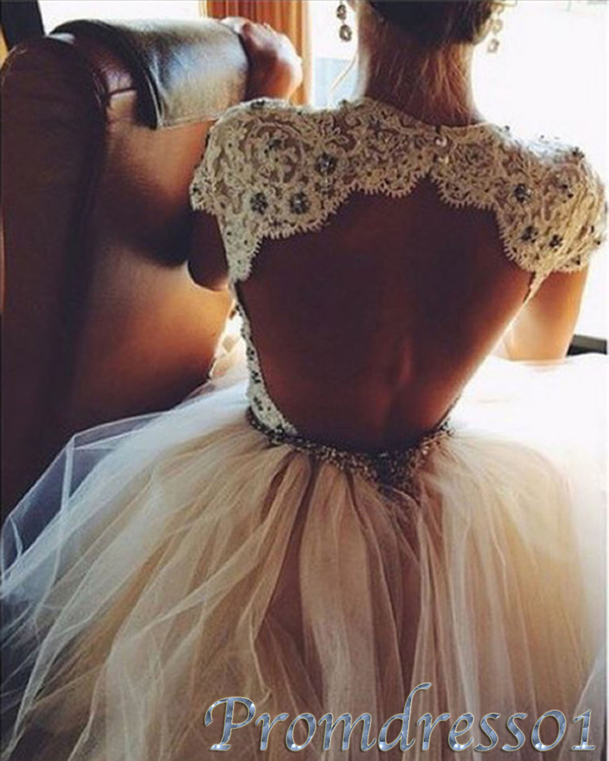Cute open back lace short prom dress ball gown prom for Short open back wedding dresses