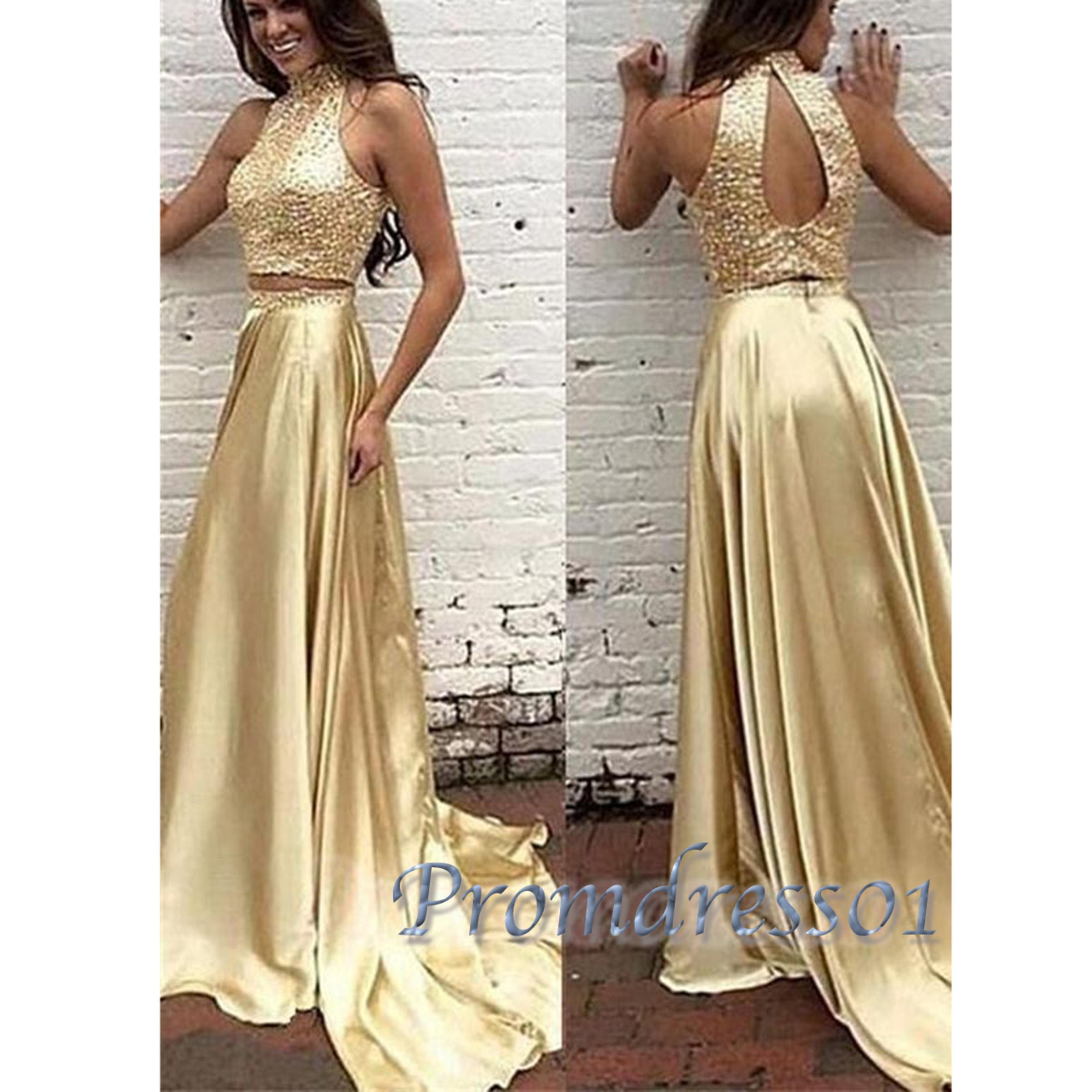 2017 gorgeous gold satin sequins long prom dresses