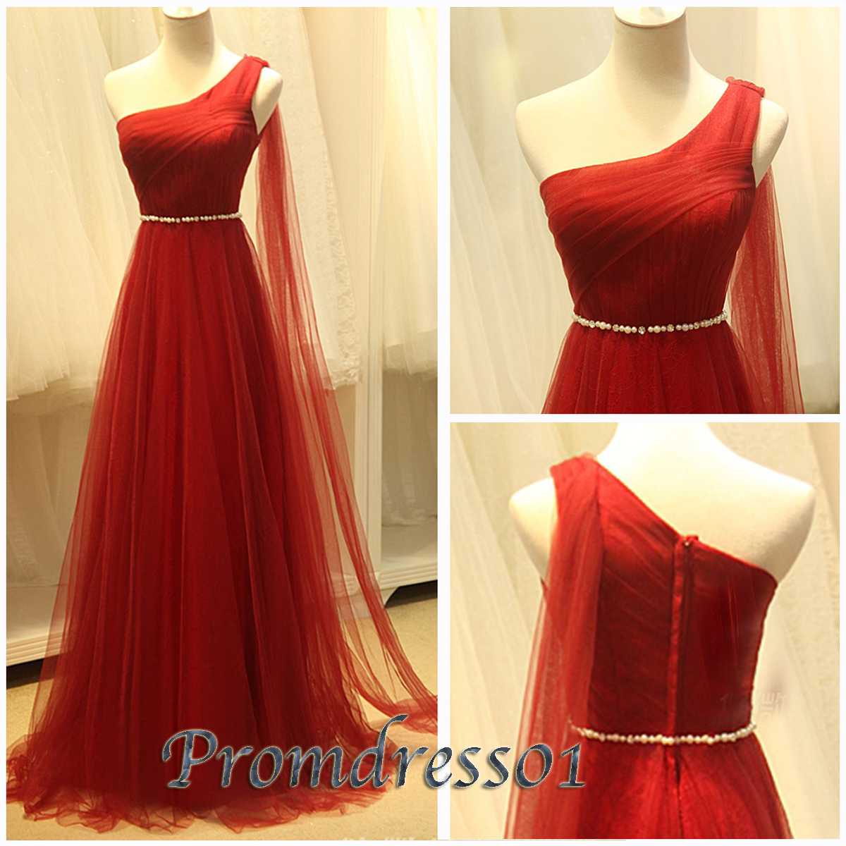 Wine red tulle one shoulder plus size evening gown