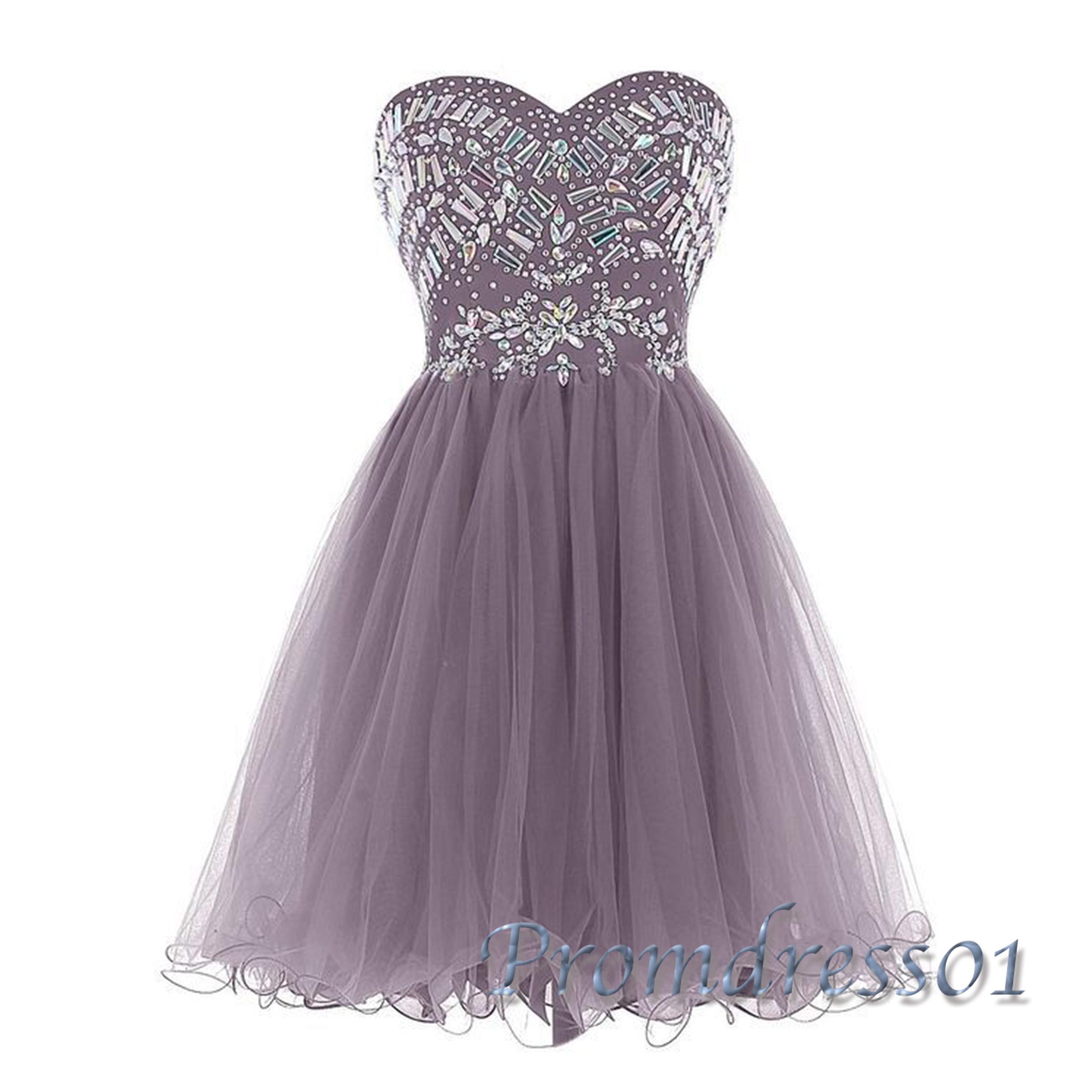 Cute beaded purple organza short home ing dress