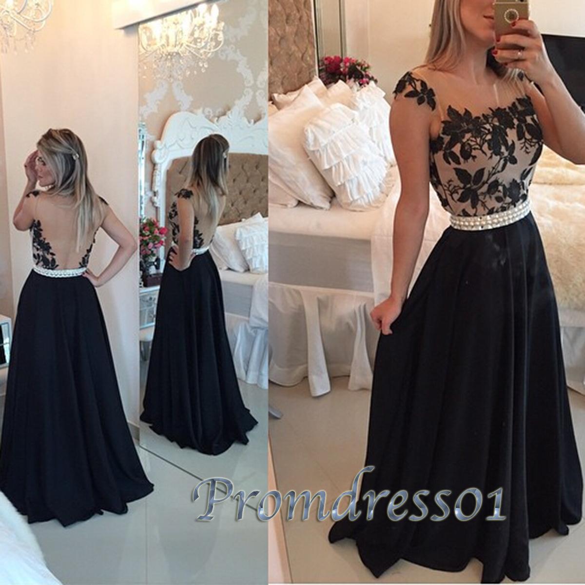 Cute round neck black lace long senior prom dress