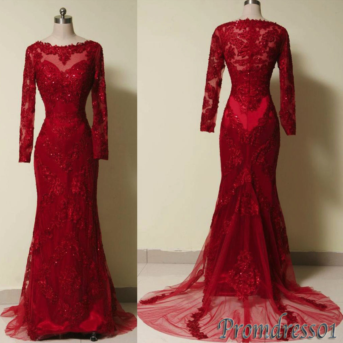 Luxuary Red Lace Long Sleeves Formal Evening Dress Prom
