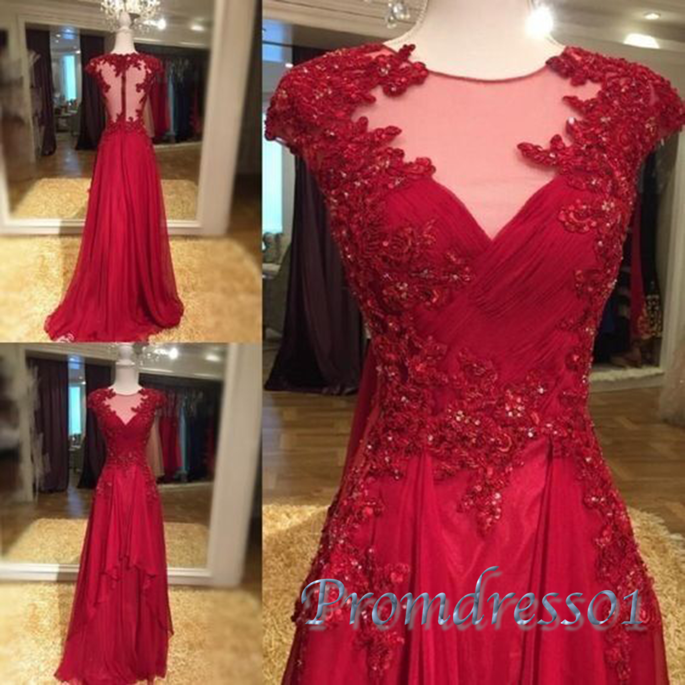 See-through neck cap sleeves red lace prom dress | Prom ...
