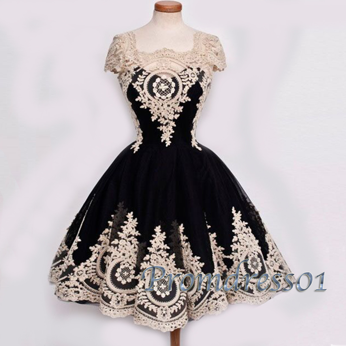 Vintage custom size cap sleeves short ball gown