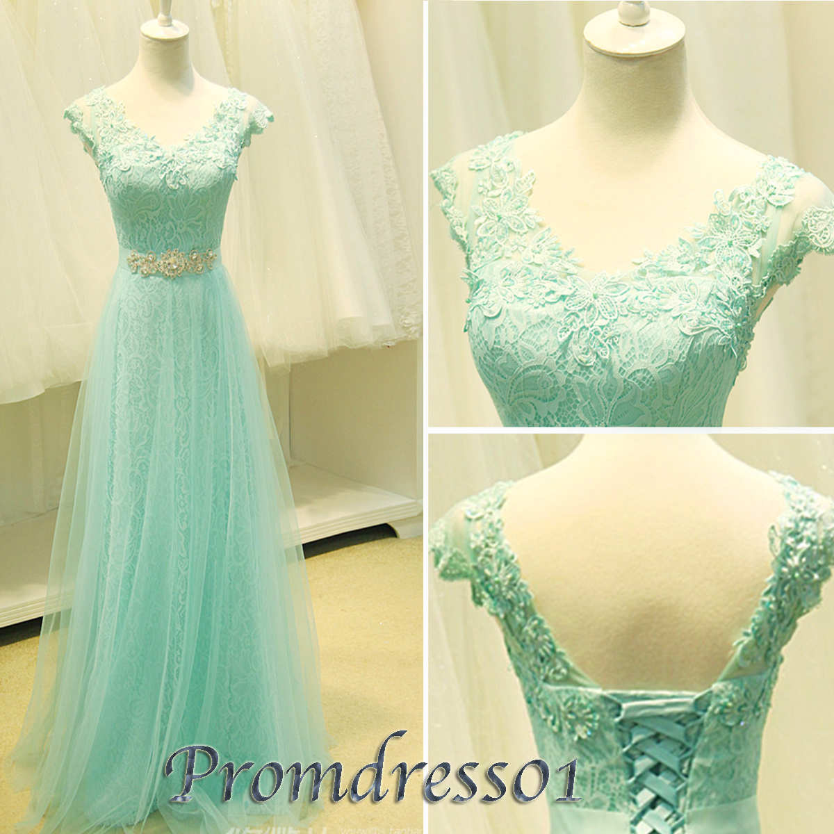 2015 icegreen long V neck lace beaded prom dresses