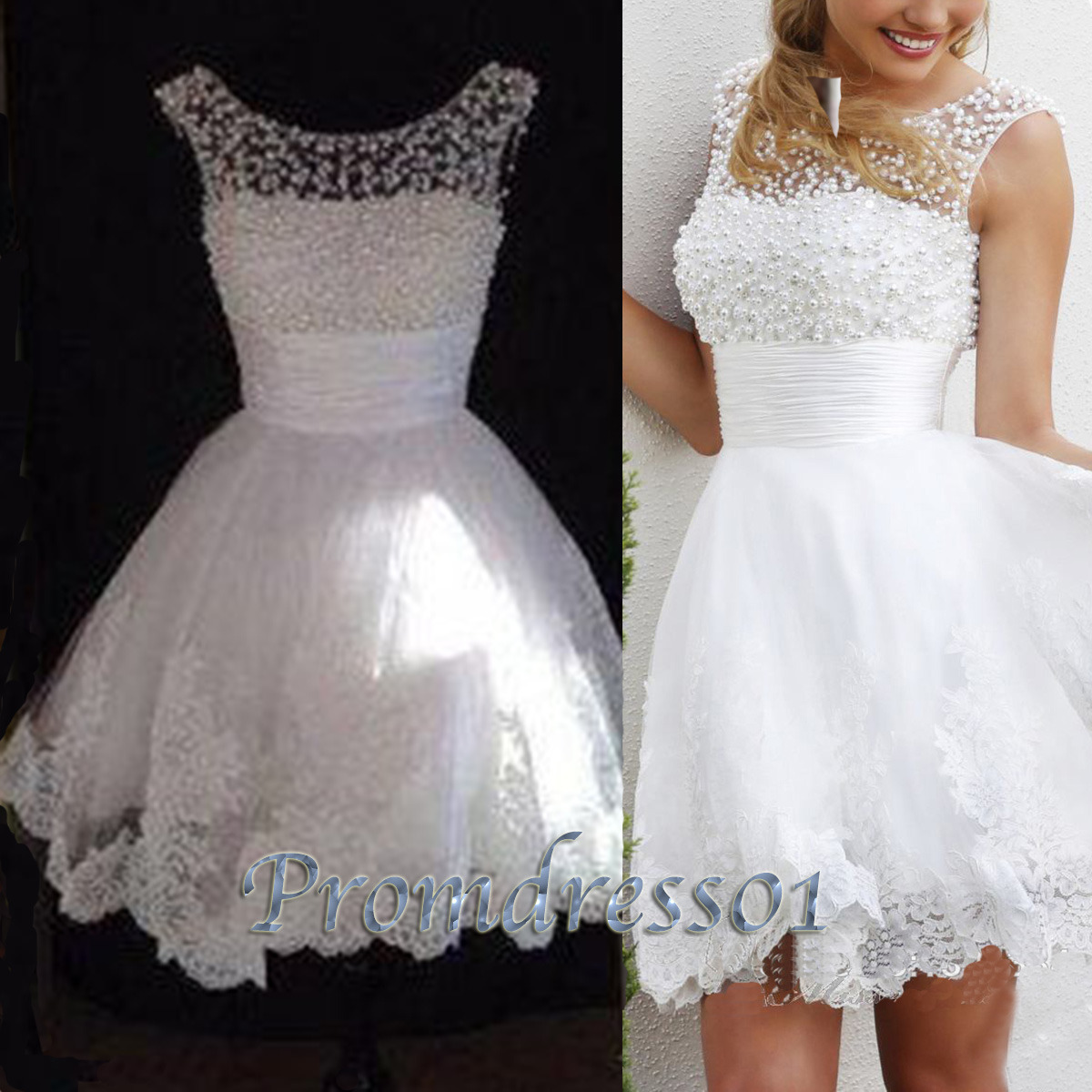 Cute white lace open back bridesmaid dress gown prom for Cute short wedding dresses